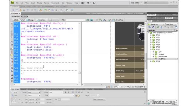 Using pseudo-class selectors for tables: Dreamweaver CS4 with CSS Essential Training