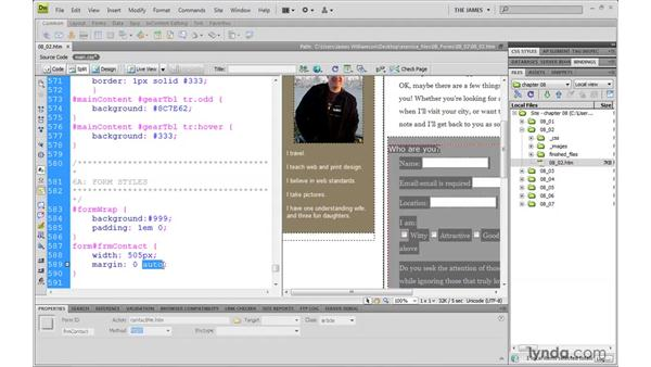 Styling fieldset and legend elements: Dreamweaver CS4 with CSS Essential Training