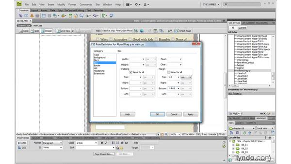 Styling form elements globally: Dreamweaver CS4 with CSS Essential Training