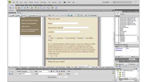 Using classes to identify form elements: Dreamweaver CS4 with CSS Essential Training