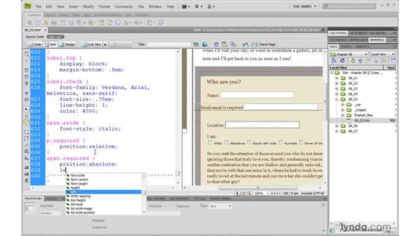 Styling user feedback: Dreamweaver CS4 with CSS Essential Training