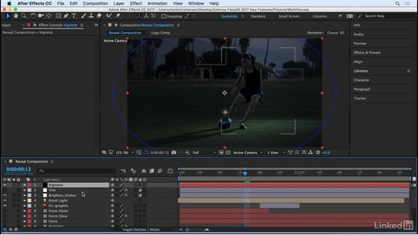 Easily reveal the current composition: After Effects CC 2017: New Features