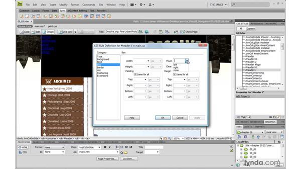 Creating horizontal menus pt. 2: Displaying links horizontally: Dreamweaver CS4 with CSS Essential Training