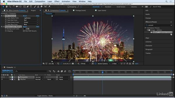 Apply Unmult as an animation preset: After Effects CC 2017: New Features