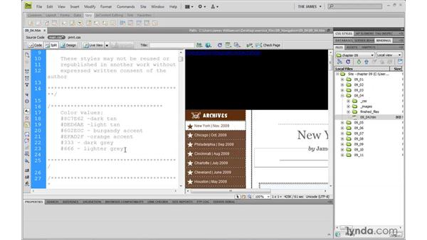 Creating horizontal menus pt. 3: Styling links: Dreamweaver CS4 with CSS Essential Training