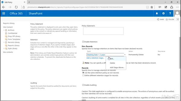 Automatically destroya record: Manage Compliance in SharePoint