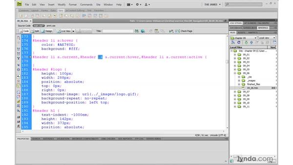 Creating horizontal menus pt. 5: Indicating current page: Dreamweaver CS4 with CSS Essential Training