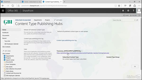 Publish content types: Manage Compliance in SharePoint