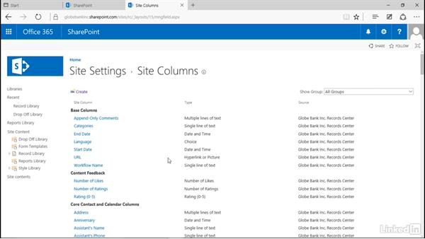 Create site columns: Manage Compliance in SharePoint