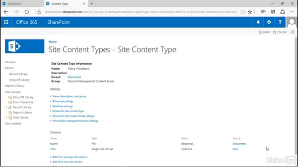 Create content types: Manage Compliance in SharePoint