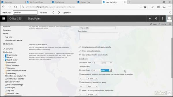 Write a site policy: Manage Compliance in SharePoint
