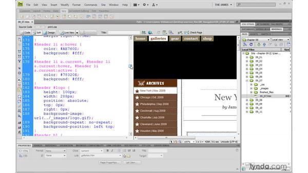 Creating horizontal menus pt. 6: Modifying cursor usage: Dreamweaver CS4 with CSS Essential Training