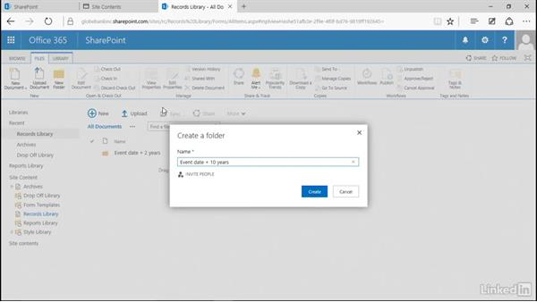 Create retention folders: Manage Compliance in SharePoint