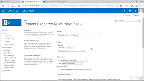 Create a content organizer rule: Manage Compliance in SharePoint