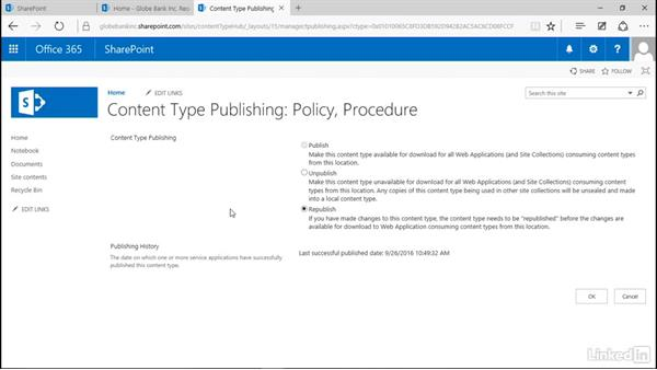 Subscribe to a content type hub: Manage Compliance in SharePoint