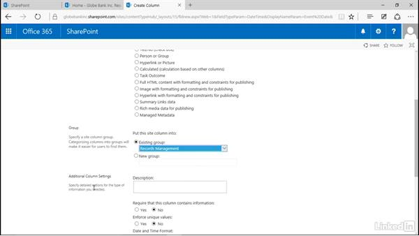 Create an event date site column: Manage Compliance in SharePoint