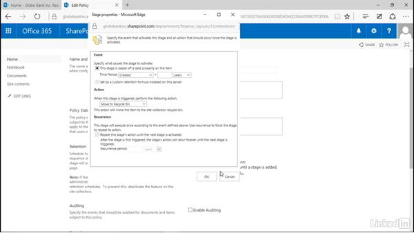 Enable retention on content types: Manage Compliance in SharePoint