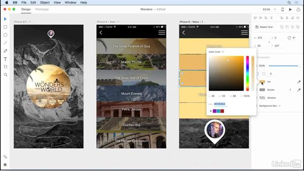 Using the new color picker and color panel: Adobe XD CC: New Features