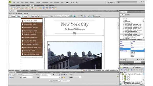 Understanding fixed positioning: Dreamweaver CS4 with CSS Essential Training