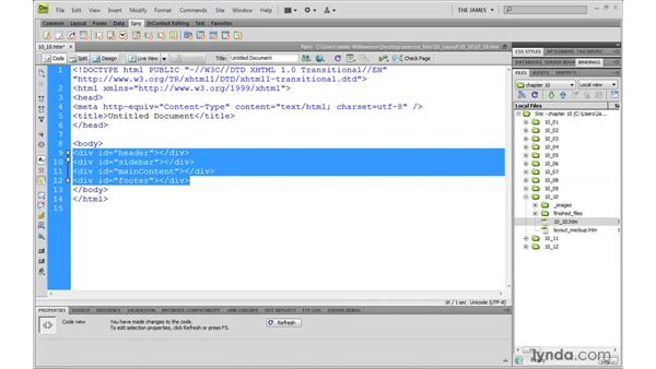 Using Dreamweaver to define document structure: Dreamweaver CS4 with CSS Essential Training