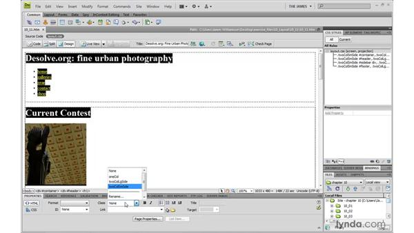 Creating a two-column layout: Dreamweaver CS4 with CSS Essential Training