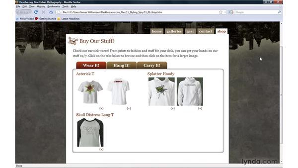 Introducing Spry widgets: Dreamweaver CS4 with CSS Essential Training