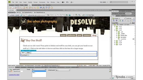 Examining the default Spry styles: Dreamweaver CS4 with CSS Essential Training