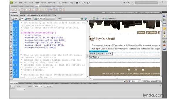 Modifying tabbed panels through CSS: Dreamweaver CS4 with CSS Essential Training