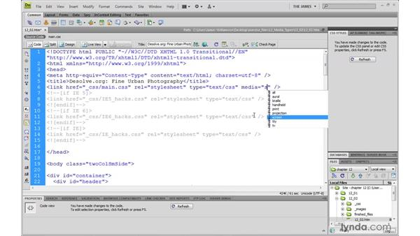 Assigning media types: Dreamweaver CS4 with CSS Essential Training