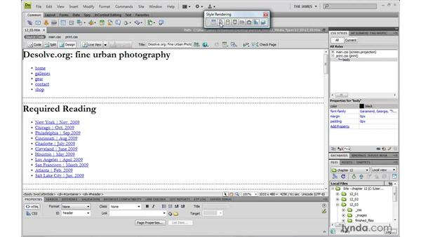 Styling type for print: Dreamweaver CS4 with CSS Essential Training