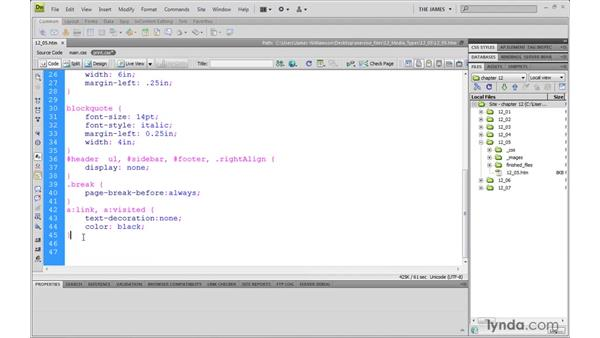 Controlling page breaks: Dreamweaver CS4 with CSS Essential Training