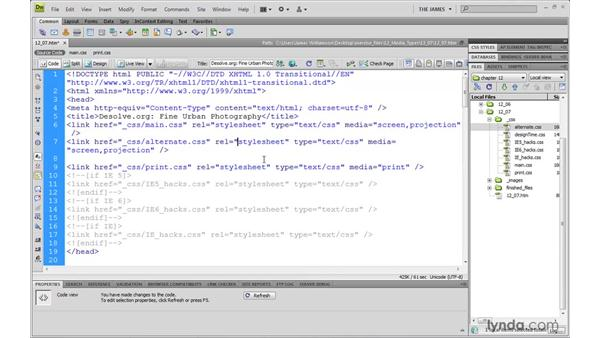 Creating alternative style sheets: Dreamweaver CS4 with CSS Essential Training