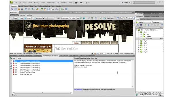 Using Dreamweaver's Browser Compatibility Check: Dreamweaver CS4 with CSS Essential Training