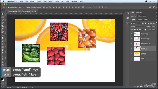 Loading, selecting, transforming, and aligning: Photoshop CC 2017 Essential Training: The Basics
