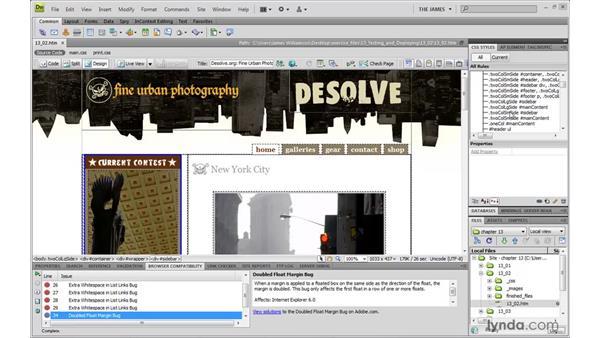 Fixing code errors with Adobe's CSS Advisor: Dreamweaver CS4 with CSS Essential Training