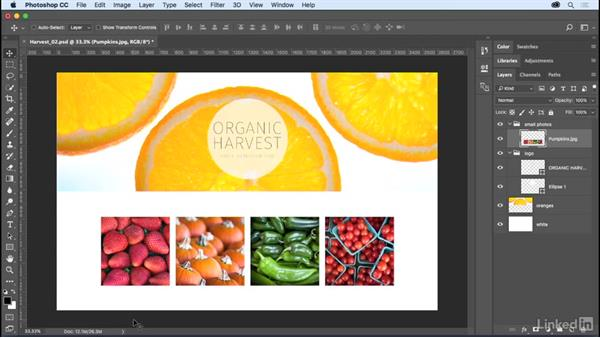 Merging and flattening layers: Photoshop CC 2017 Essential Training: The Basics