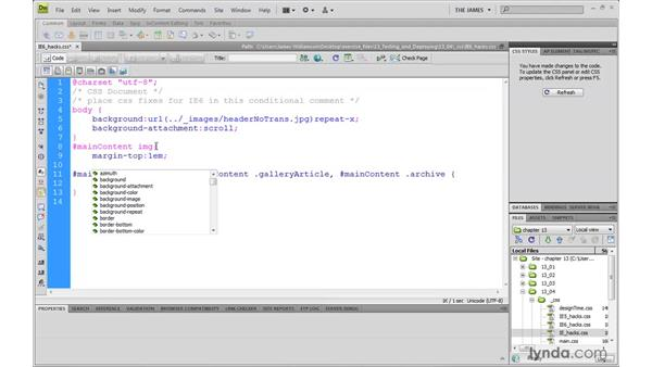 Implementing browser compatibility: Dreamweaver CS4 with CSS Essential Training