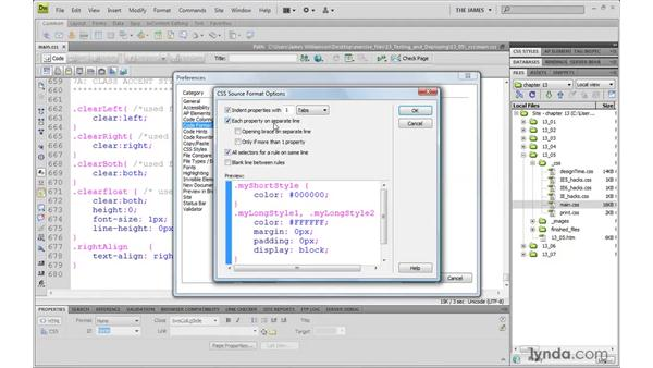 Formatting code for deployment: Dreamweaver CS4 with CSS Essential Training
