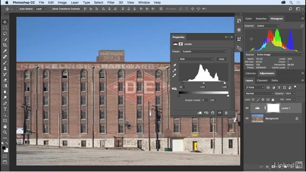 Refining dynamic range using Levels: Photoshop CC 2017 Essential Training: The Basics