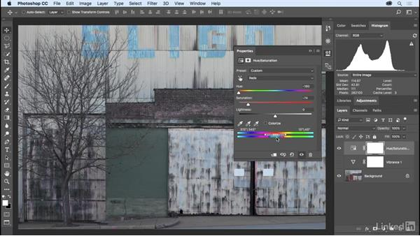 Changing vibrance, hue, and saturation: Photoshop CC 2017 Essential Training: The Basics