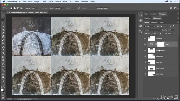 Limiting adjustments with clipping masks: Photoshop CC 2017 Essential Training: The Basics