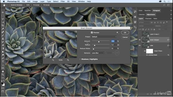 Sharpening images: Photoshop CC 2017 Essential Training: The Basics