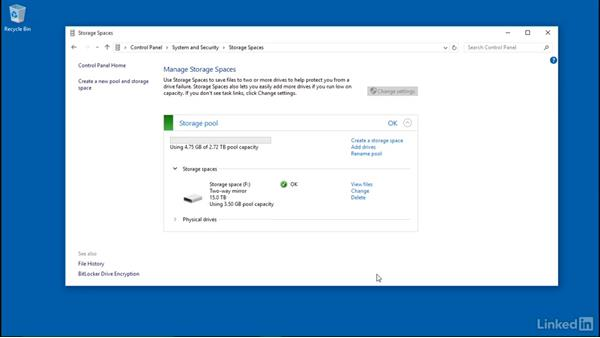 Add and remove drives from a pool: Windows 10: Configure Storage