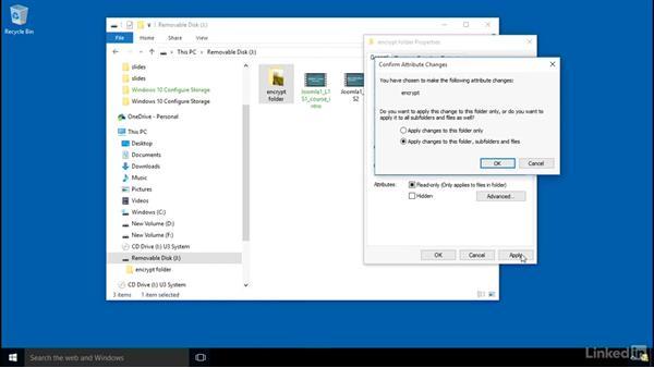 Encrypt files with EFS: Windows 10: Configure Storage