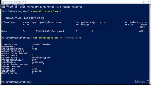 Encrypt volumes using PowerShell: Windows 10: Configure Storage