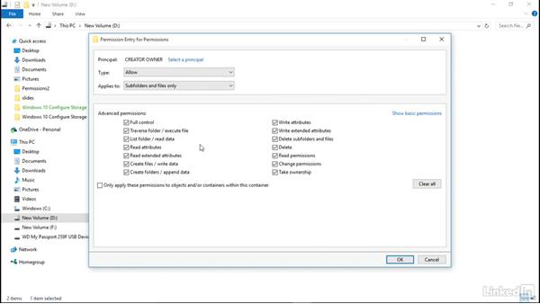 Set more complex permissions: Windows 10: Configure Storage