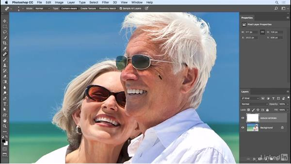 Reducing wrinkles with a Healing Brush: Photoshop CC 2017 Essential Training: Photography