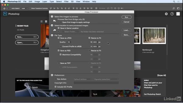 Saving photos using Image Processor: Photoshop CC 2017 Essential Training: Photography