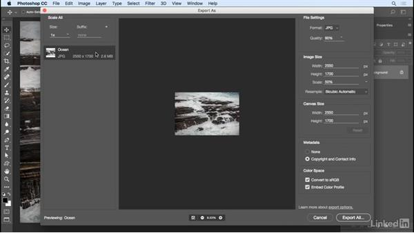 Quickly exporting images: Photoshop CC 2017 Essential Training: Photography