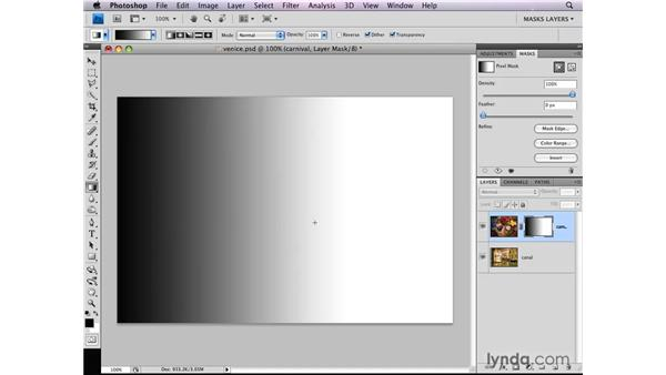 Adding a gradient to a layer mask: Photoshop CS4: Layer Masks in Depth